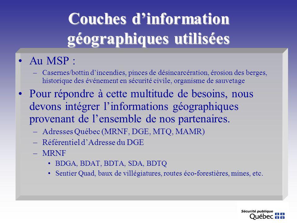 Couches dinformation géographiques utilisées Au MSP :Au MSP : –Casernes/bottin dincendies, pinces de désincarcération, érosion des berges, historique