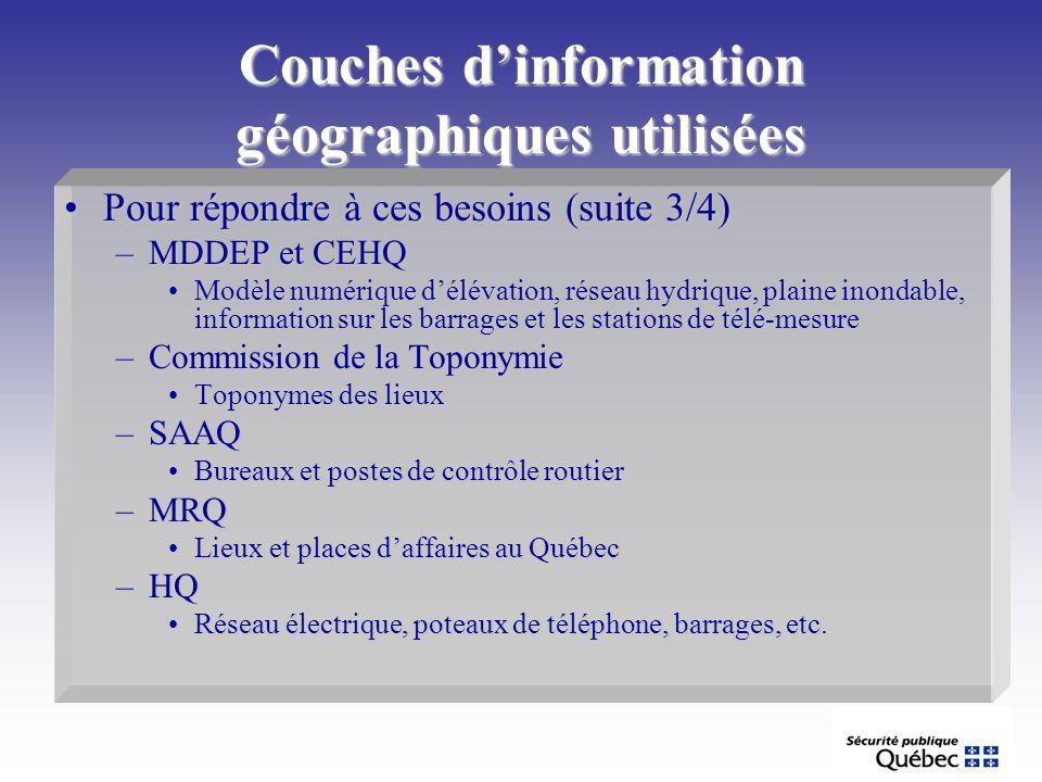 Couches dinformation géographiques utilisées Pour répondre à ces besoins (suite 3/4)Pour répondre à ces besoins (suite 3/4) –MDDEP et CEHQ Modèle numé