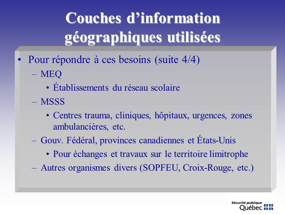 Couches dinformation géographiques utilisées Pour répondre à ces besoins (suite 4/4)Pour répondre à ces besoins (suite 4/4) –MEQ Établissements du rés