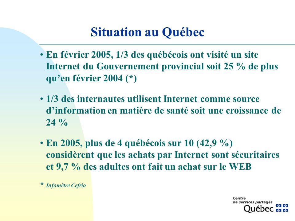 Situation au Québec En février 2005, 1/3 des québécois ont visité un site Internet du Gouvernement provincial soit 25 % de plus quen février 2004 (*)