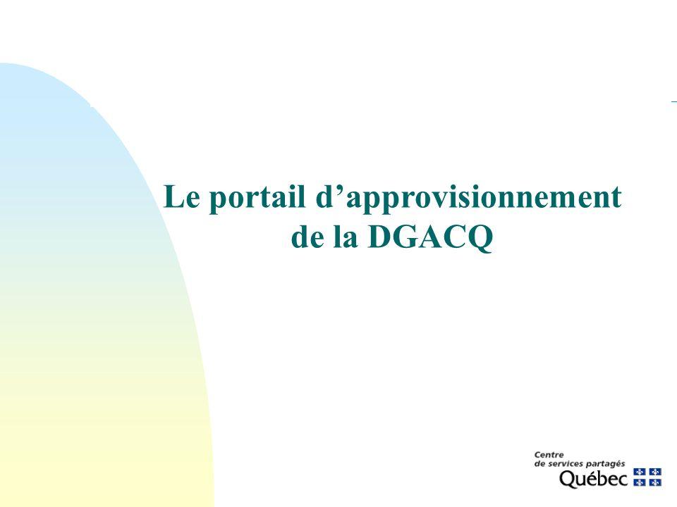 Le portail dapprovisionnement de la DGACQ