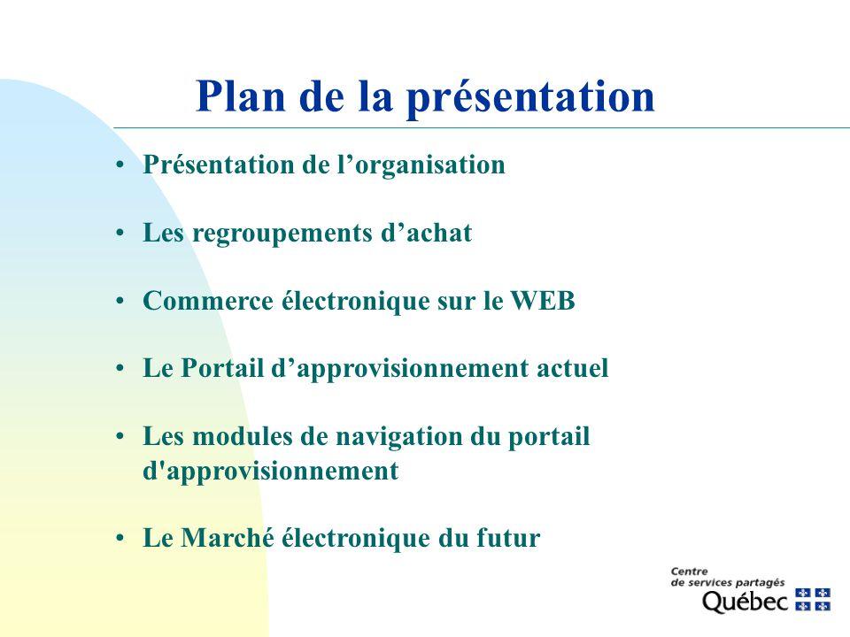 Présentation de lorganisation Les regroupements dachat Commerce électronique sur le WEB Le Portail dapprovisionnement actuel Les modules de navigation