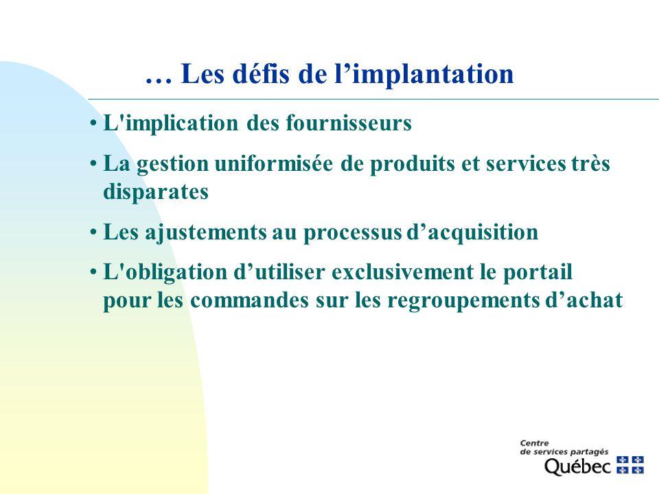 … Les défis de limplantation L'implication des fournisseurs La gestion uniformisée de produits et services très disparates Les ajustements au processu