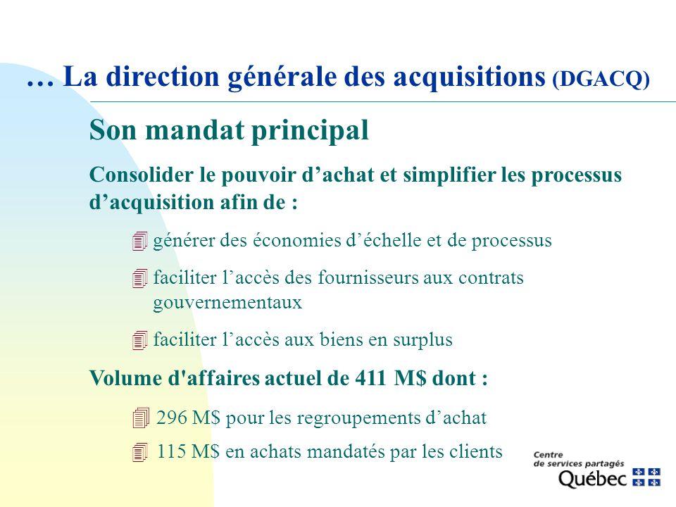 Son mandat principal Consolider le pouvoir dachat et simplifier les processus dacquisition afin de : 4générer des économies déchelle et de processus 4