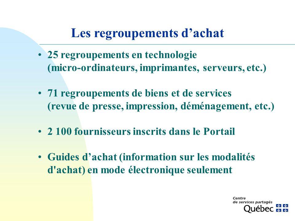 25 regroupements en technologie (micro-ordinateurs, imprimantes, serveurs, etc.) 71 regroupements de biens et de services (revue de presse, impression