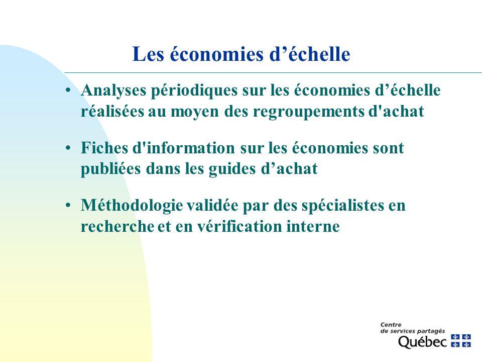 Les économies déchelle Analyses périodiques sur les économies déchelle réalisées au moyen des regroupements d'achat Fiches d'information sur les écono