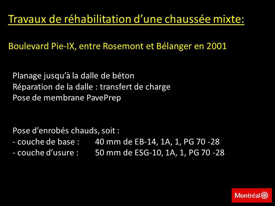 Travaux de réhabilitation dune chaussée mixte: Boulevard Pie-IX, entre Rosemont et Bélanger en 2001 Planage jusquà la dalle de béton Réparation de la dalle : transfert de charge Pose de membrane PavePrep Pose denrobés chauds, soit : - couche de base :40 mm de EB-14, 1A, 1, PG 70 -28 - couche dusure :50 mm de ESG-10, 1A, 1, PG 70 -28