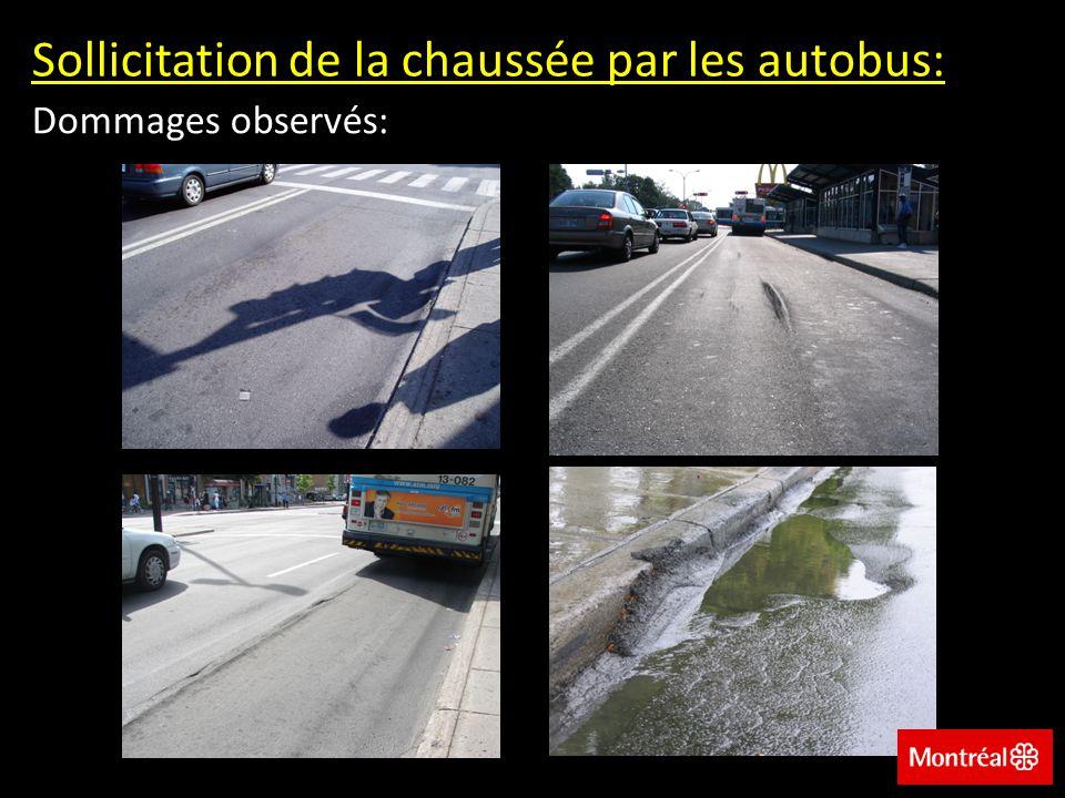 Sollicitation de la chaussée par les autobus: Dommages observés: