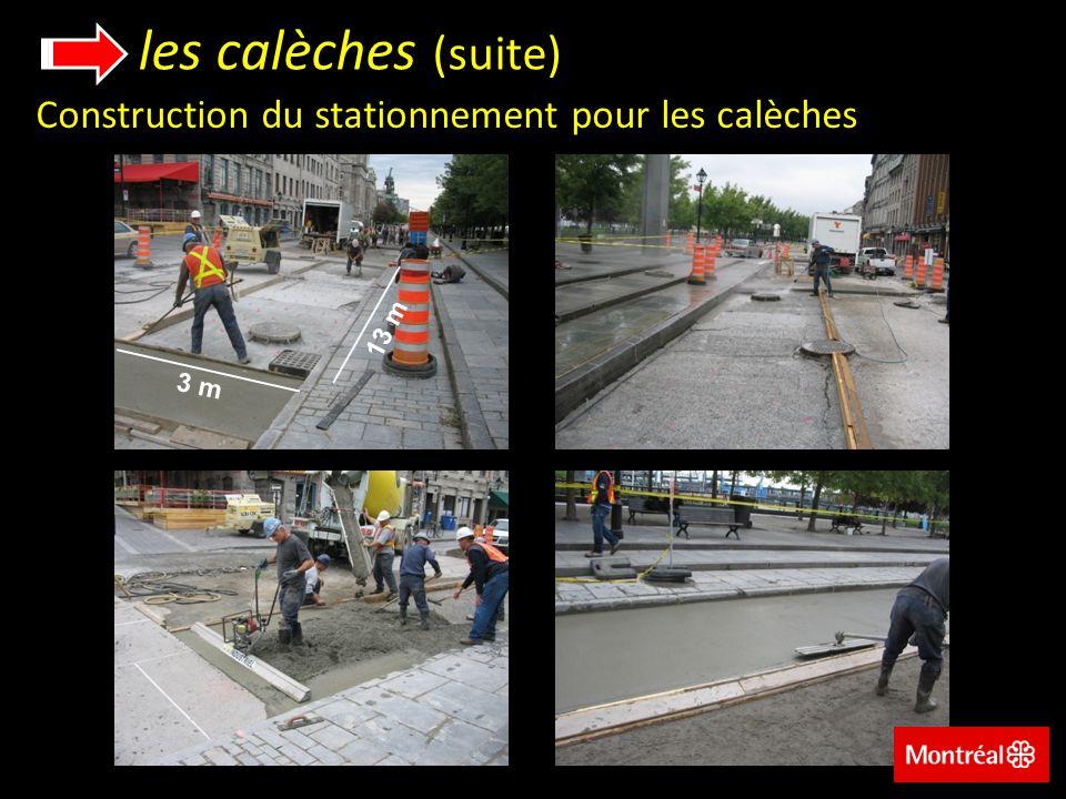 les calèches (suite) Construction du stationnement pour les calèches 13 m 3 m