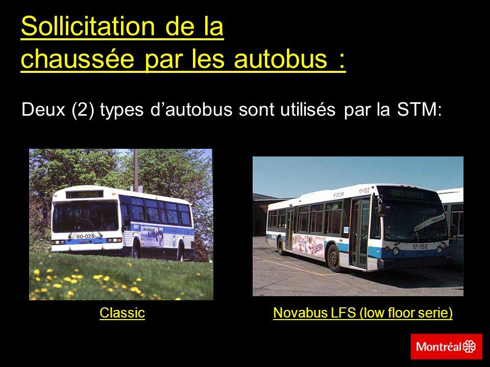 Type Classic Sollicitation de la chaussée par les autobus (suite): - -Position du moteur: centrale - -Longueur:12 500 mm -Largeur: 2 600 mm -Masse à vide essieu avant:3 558 kg (33 %) -Masse à vide essieu arrière:7 142 kg (67 %) -ÉCAS équivalent vide: 0,7 ÉCAS -ÉCAS équivalent chargé: 2,5 ÉCAS (Hypothèses: 75 personnes de 60 kg et 5 062 kg essieu avant, 10 138 kg essieu arrière)