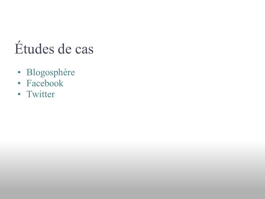 Études de cas Blogosphère Facebook Twitter