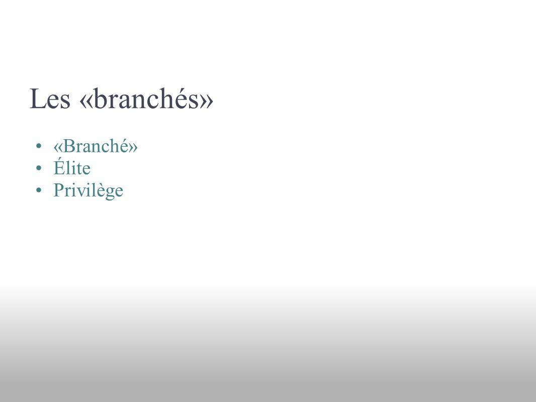 Les «branchés» «Branché» Élite Privilège