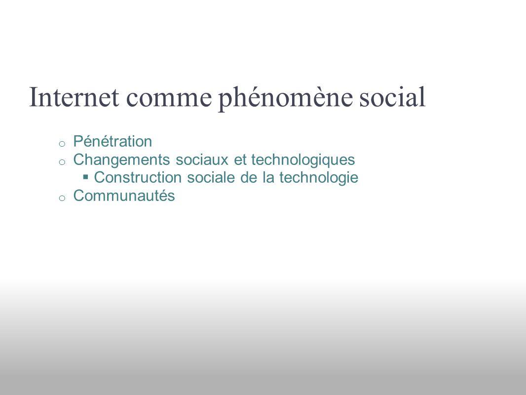 Internet comme phénomène social o Pénétration o Changements sociaux et technologiques Construction sociale de la technologie o Communautés