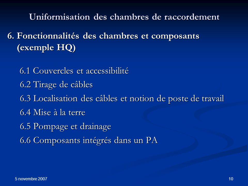 5 novembre 2007 10 Uniformisation des chambres de raccordement 6. Fonctionnalités des chambres et composants (exemple HQ) 6.1 Couvercles et accessibil