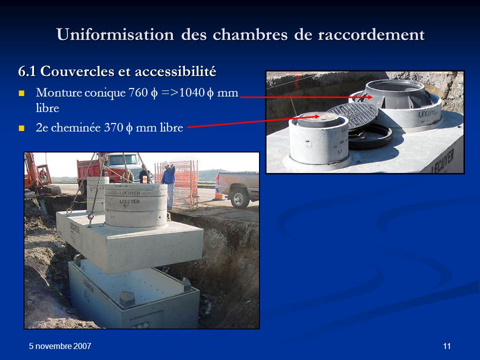 5 novembre 2007 11 Uniformisation des chambres de raccordement 6.1 Couvercles et accessibilité Monture conique 760 =>1040 mm libre 2e cheminée 370 mm