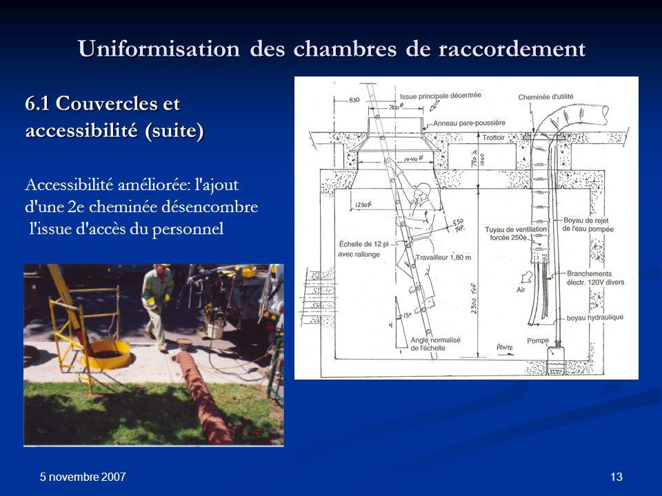 5 novembre 2007 13 Uniformisation des chambres de raccordement 6.1 Couvercles et accessibilité (suite) Accessibilité améliorée: l'ajout d'une 2e chemi