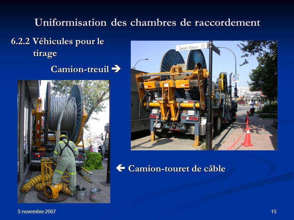 5 novembre 2007 15 Uniformisation des chambres de raccordement Camion-touret de câble Camion-touret de câble 6.2.2 Véhicules pour le tirage Camion-tre