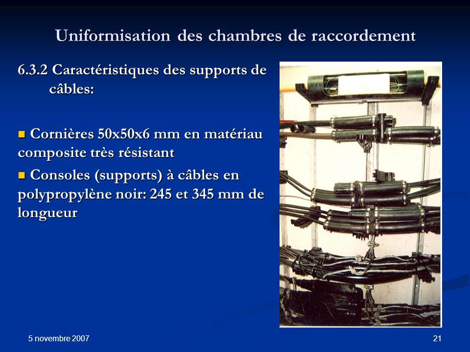 5 novembre 2007 21 Uniformisation des chambres de raccordement 6.3.2 Caractéristiques des supports de câbles: Cornières 50x50x6 mm en matériau composi