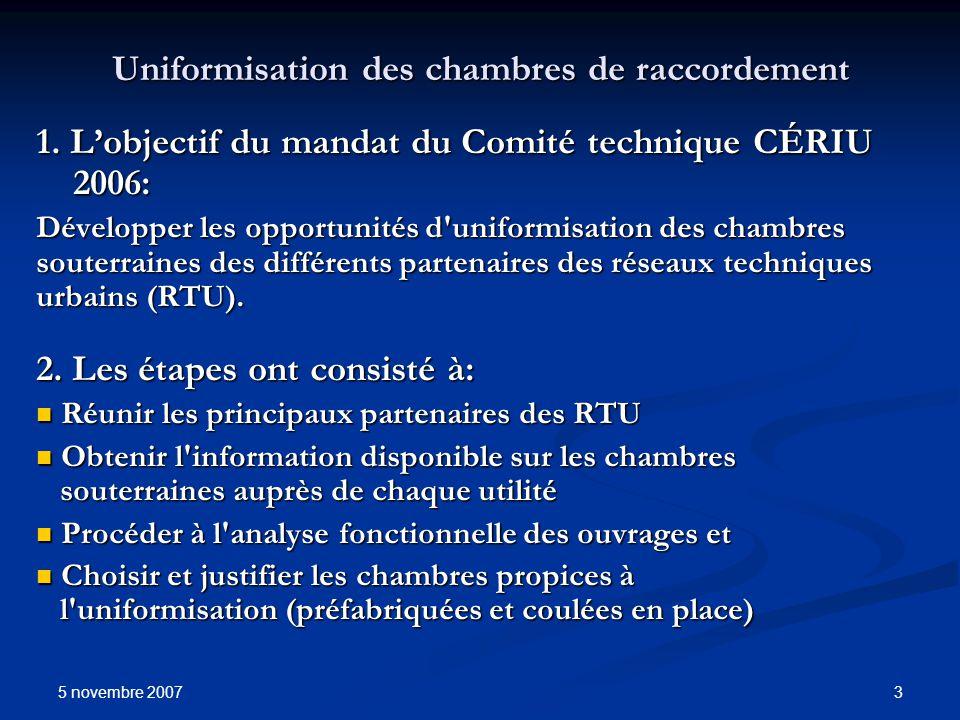5 novembre 2007 3 Uniformisation des chambres de raccordement 1. Lobjectif du mandat du Comité technique CÉRIU 2006: Développer les opportunités d'uni