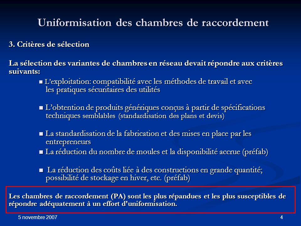 5 novembre 2007 4 Uniformisation des chambres de raccordement 3. Critères de sélection La sélection des variantes de chambres en réseau devait répondr