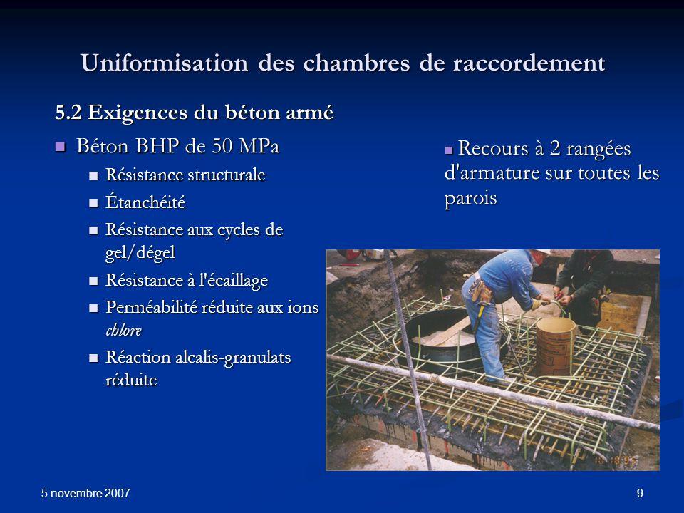 5 novembre 2007 9 Uniformisation des chambres de raccordement 5.2 Exigences du béton armé Béton BHP de 50 MPa Béton BHP de 50 MPa Résistance structura