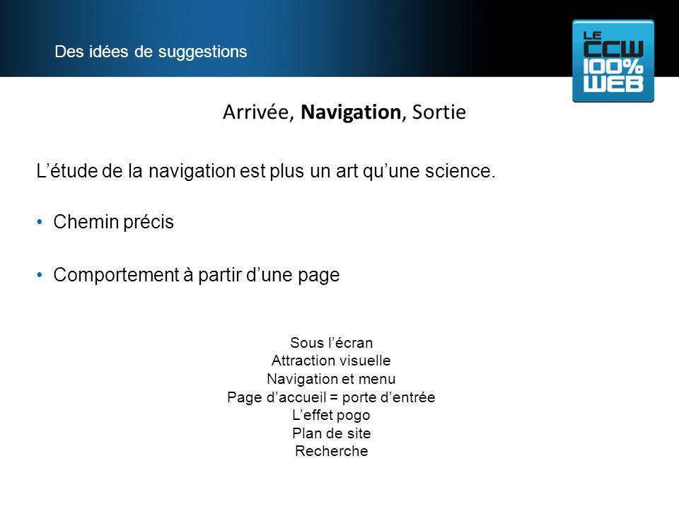 Arrivée, Navigation, Sortie Des idées de suggestions Létude de la navigation est plus un art quune science.