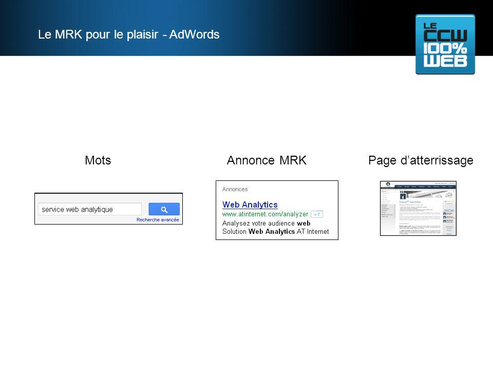 Mots Annonce MRK Page datterrissage Le MRK pour le plaisir - AdWords