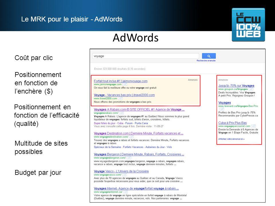AdWords Le MRK pour le plaisir - AdWords Coût par clic Positionnement en fonction de lenchère ($) Positionnement en fonction de lefficacité (qualité) Multitude de sites possibles Budget par jour