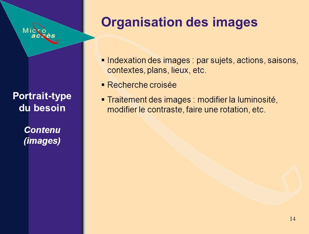 14 Organisation des images Indexation des images : par sujets, actions, saisons, contextes, plans, lieux, etc.