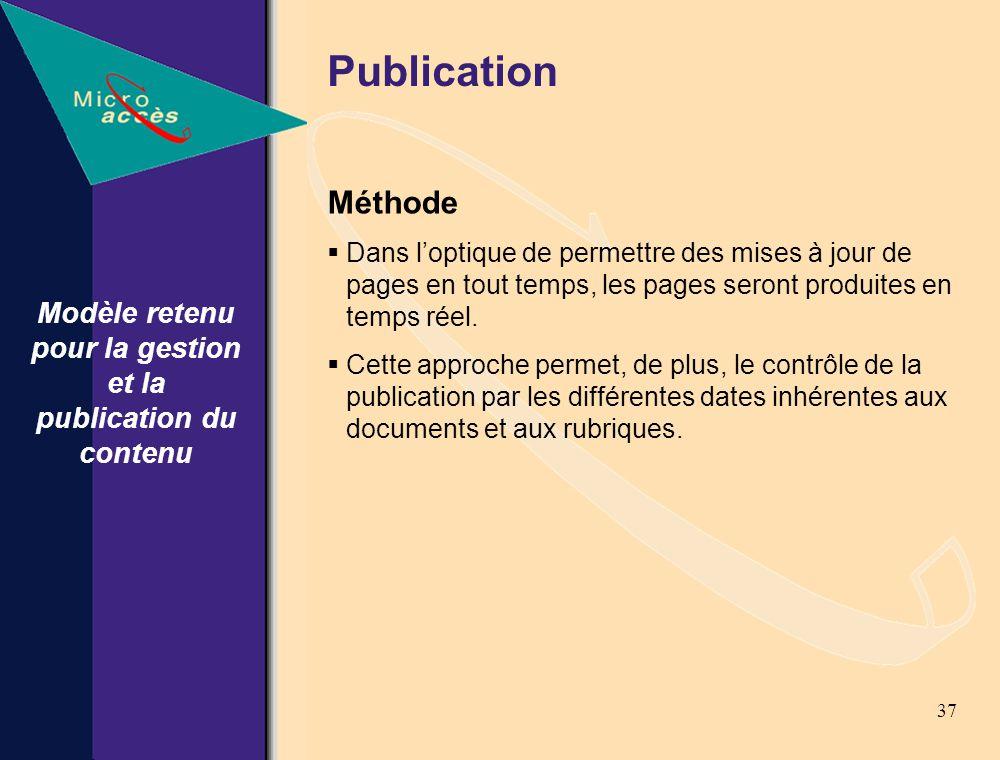 37 Modèle retenu pour la gestion et la publication du contenu Publication Méthode Dans loptique de permettre des mises à jour de pages en tout temps, les pages seront produites en temps réel.