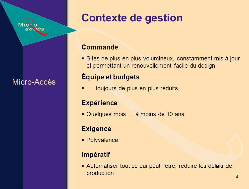 4 Contexte de gestion Commande Sites de plus en plus volumineux, constamment mis à jour et permettant un renouvellement facile du design Équipe et budgets ….