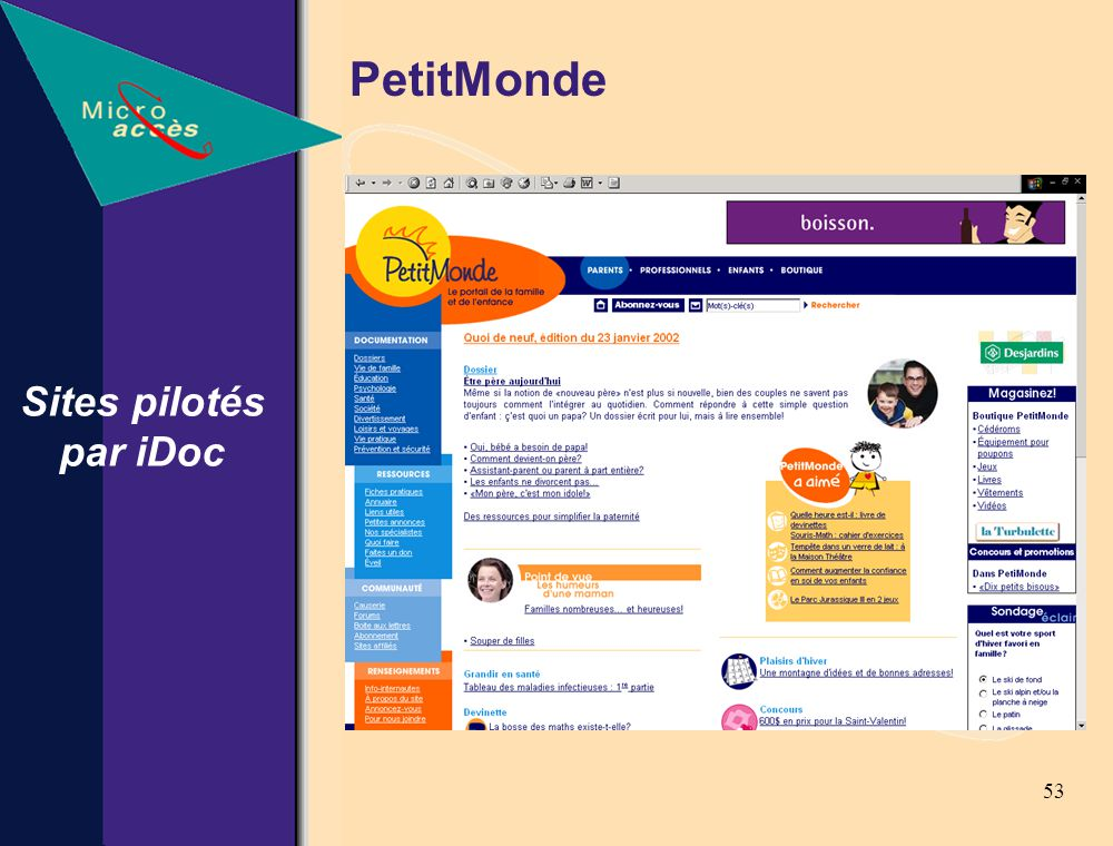 53 Sites pilotés par iDoc PetitMonde