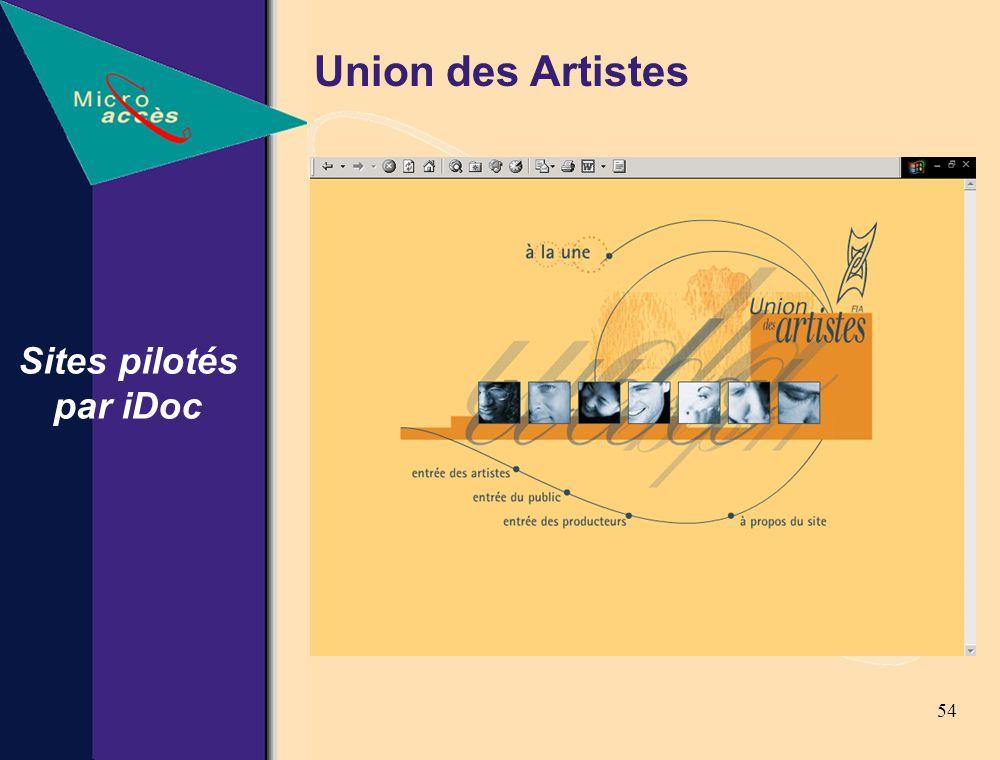 54 Sites pilotés par iDoc Union des Artistes