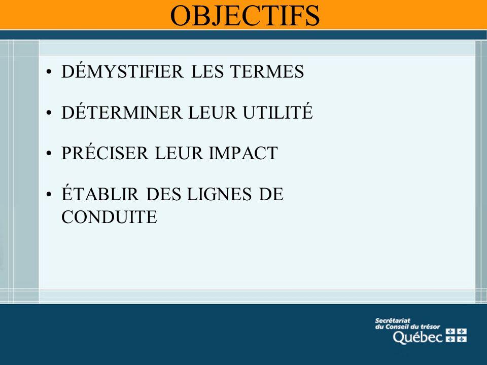 OBJECTIFS DÉMYSTIFIER LES TERMES DÉTERMINER LEUR UTILITÉ PRÉCISER LEUR IMPACT ÉTABLIR DES LIGNES DE CONDUITE