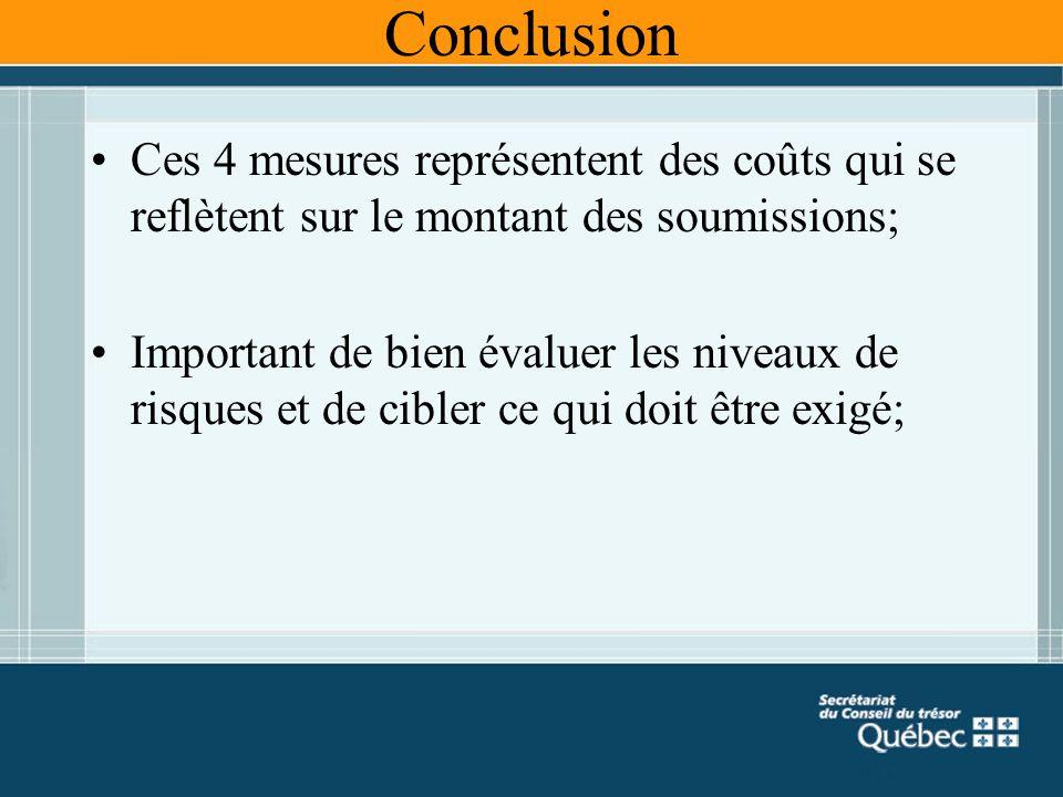 Conclusion Ces 4 mesures représentent des coûts qui se reflètent sur le montant des soumissions; Important de bien évaluer les niveaux de risques et d
