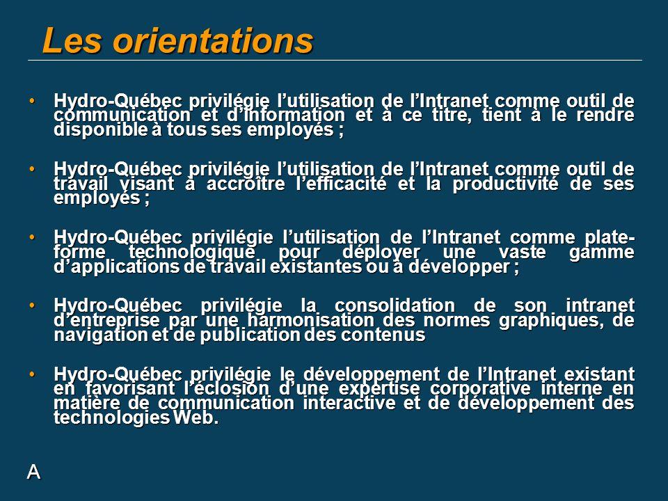 A Les orientations Hydro-Québec privilégie lutilisation de lIntranet comme outil de communication et dinformation et à ce titre, tient à le rendre dis