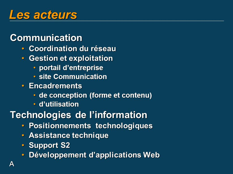 A Les acteurs Communication Coordination du réseauCoordination du réseau Gestion et exploitationGestion et exploitation portail dentrepriseportail dentreprise site Communicationsite Communication EncadrementsEncadrements de conception (forme et contenu)de conception (forme et contenu) dutilisationdutilisation Technologies de linformation Positionnements technologiquesPositionnements technologiques Assistance techniqueAssistance technique Support S2Support S2 Développement dapplications WebDéveloppement dapplications Web
