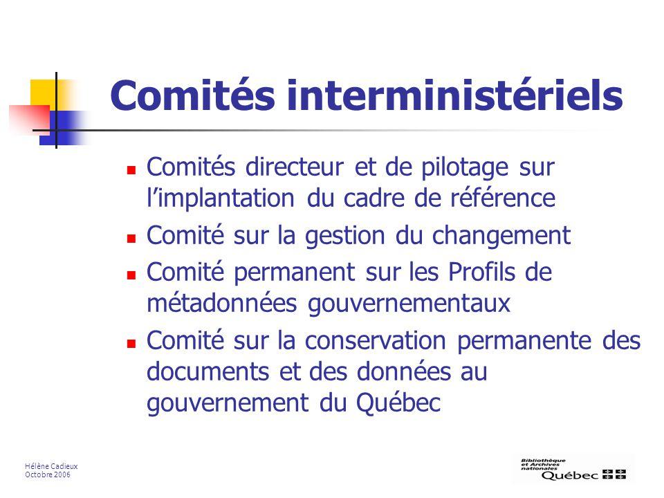 Comités interministériels Comités directeur et de pilotage sur limplantation du cadre de référence Comité sur la gestion du changement Comité permanen