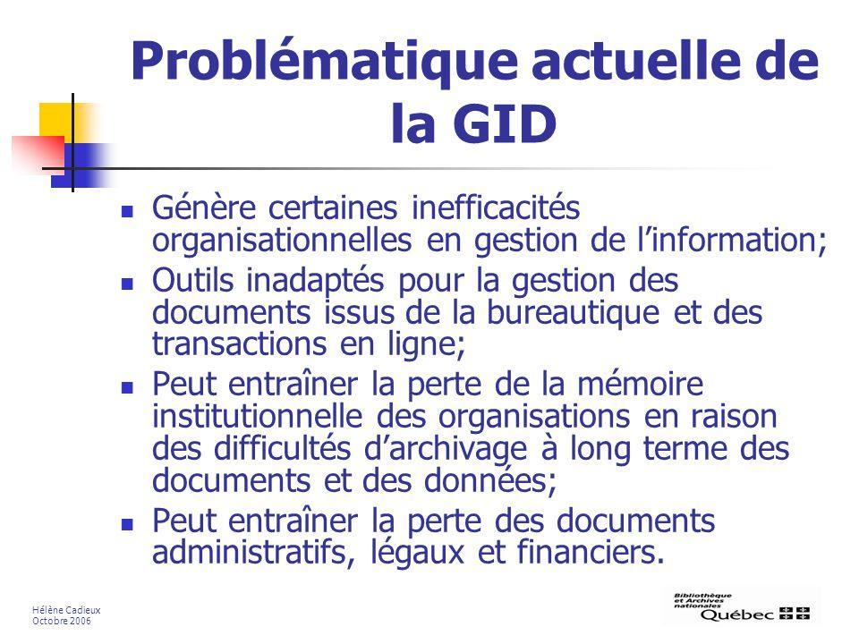 Problématique actuelle de la GID Génère certaines inefficacités organisationnelles en gestion de linformation; Outils inadaptés pour la gestion des do