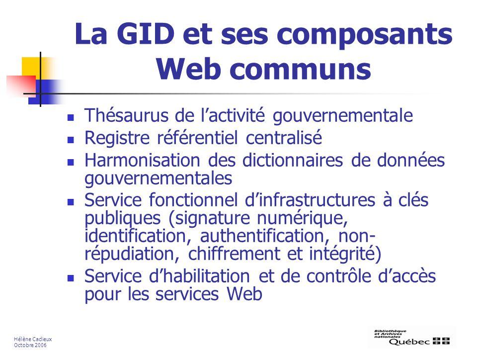 La GID et ses composants Web communs Thésaurus de lactivité gouvernementale Registre référentiel centralisé Harmonisation des dictionnaires de données