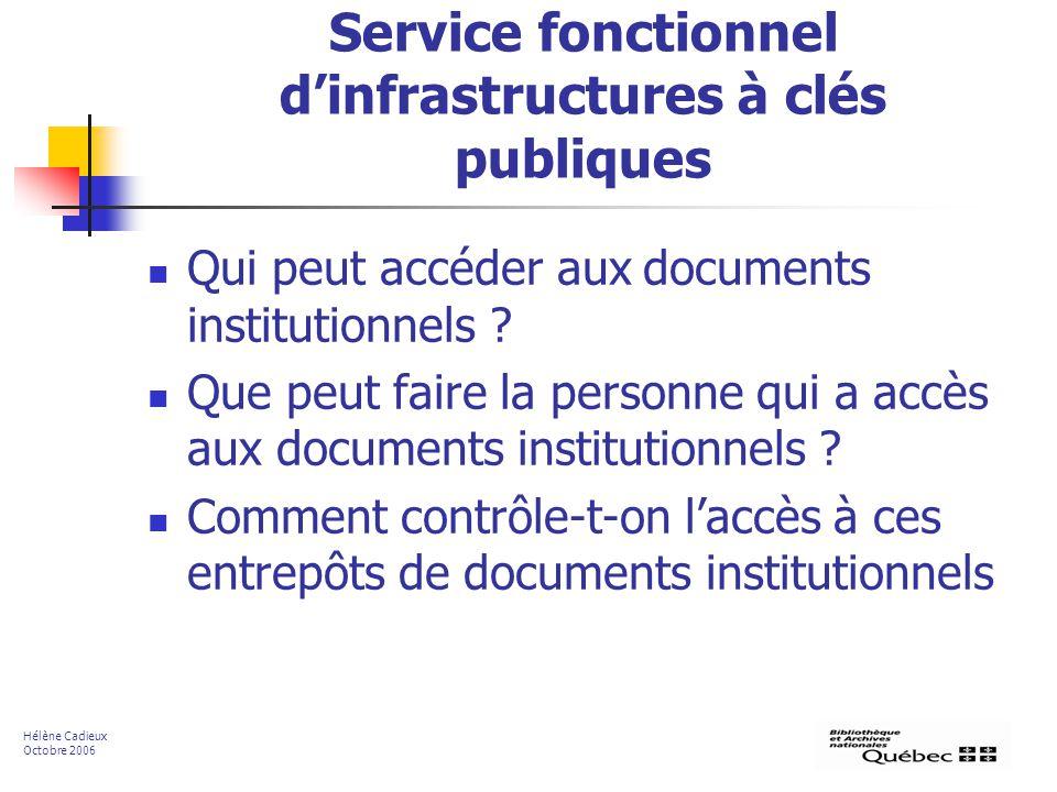 Service fonctionnel dinfrastructures à clés publiques Qui peut accéder aux documents institutionnels ? Que peut faire la personne qui a accès aux docu