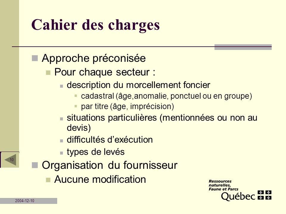 2004-12-10 10 Cahier des charges Approche préconisée Pour chaque secteur : description du morcellement foncier cadastral (âge,anomalie, ponctuel ou en