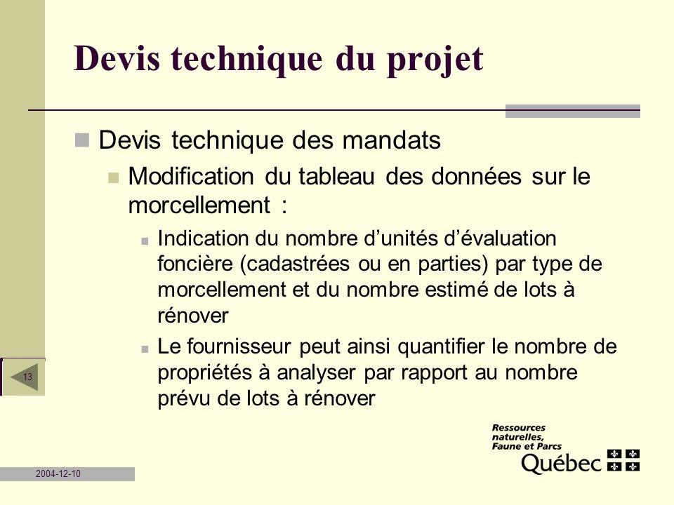 2004-12-10 13 Devis technique du projet Devis technique des mandats Modification du tableau des données sur le morcellement : Indication du nombre dun
