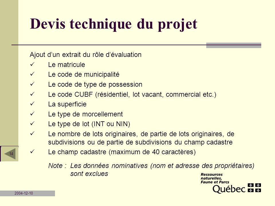2004-12-10 14 Devis technique du projet Ajout dun extrait du rôle dévaluation Le matricule Le code de municipalité Le code de type de possession Le co