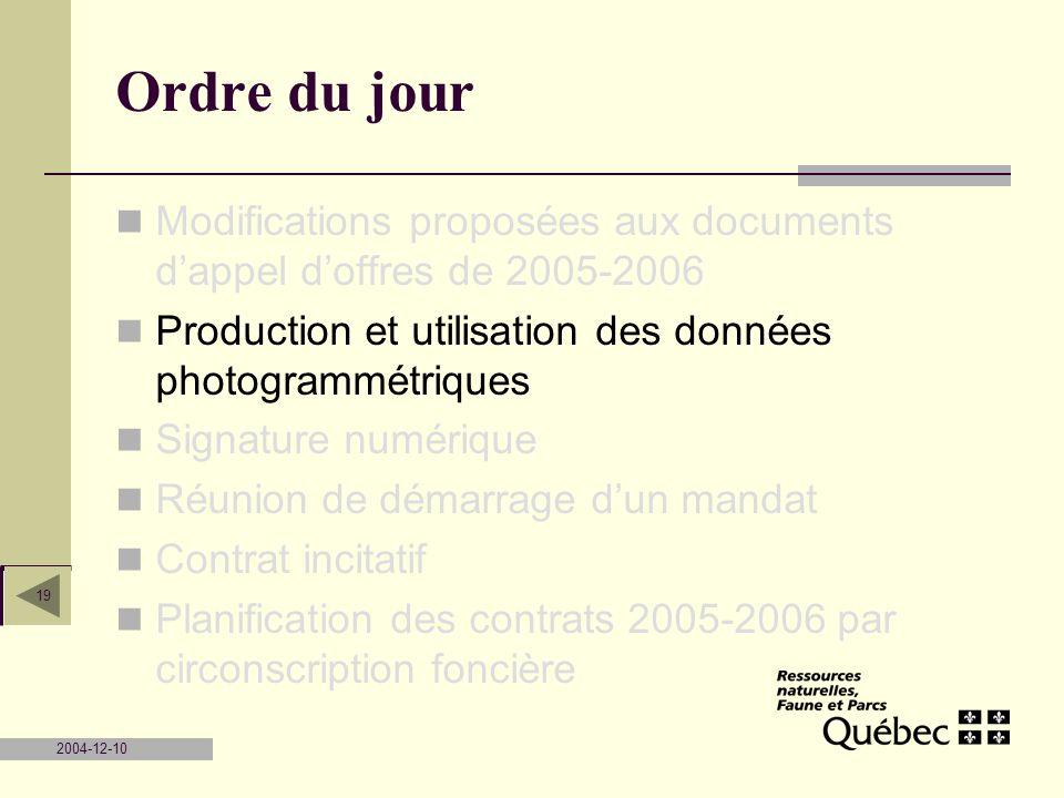 2004-12-10 19 Ordre du jour Modifications proposées aux documents dappel doffres de 2005-2006 Production et utilisation des données photogrammétriques