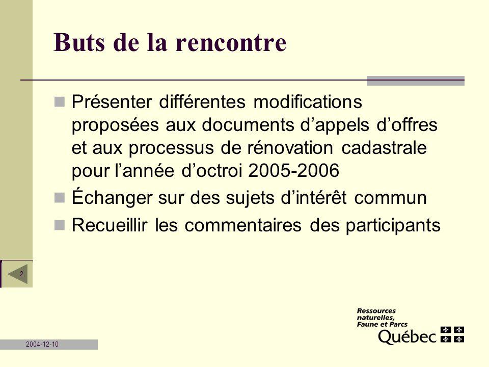 2004-12-10 2 Buts de la rencontre Présenter différentes modifications proposées aux documents dappels doffres et aux processus de rénovation cadastral