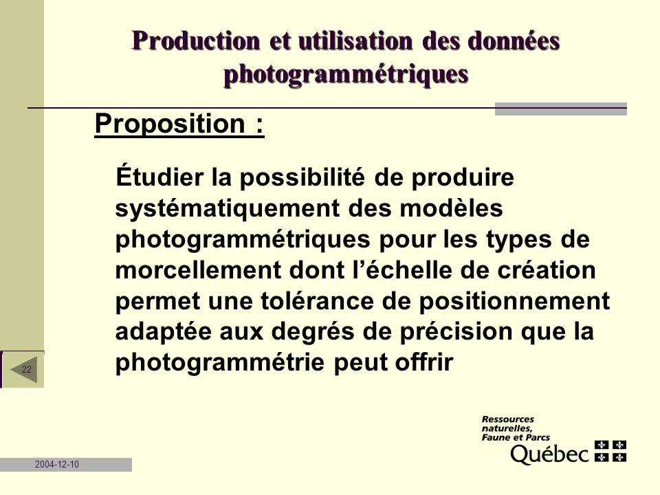 2004-12-10 22 Proposition : Étudier la possibilité de produire systématiquement des modèles photogrammétriques pour les types de morcellement dont léc