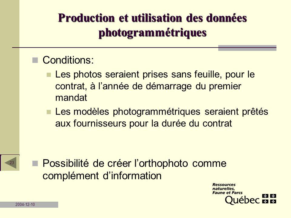 2004-12-10 23 Conditions: Les photos seraient prises sans feuille, pour le contrat, à lannée de démarrage du premier mandat Les modèles photogrammétri