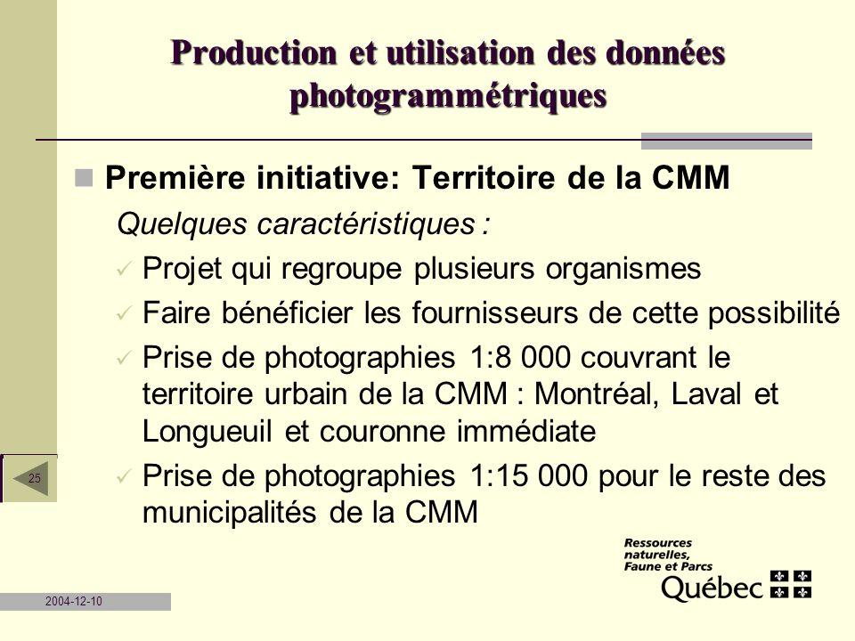 2004-12-10 25 Première initiative: Territoire de la CMM Quelques caractéristiques : Projet qui regroupe plusieurs organismes Faire bénéficier les four