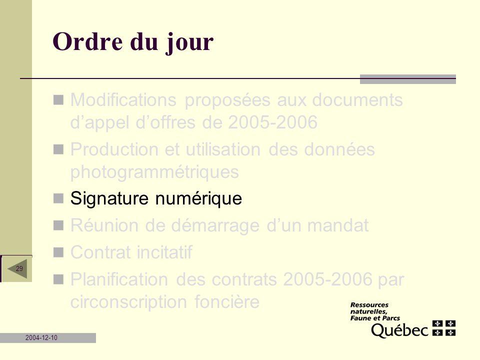 2004-12-10 29 Ordre du jour Modifications proposées aux documents dappel doffres de 2005-2006 Production et utilisation des données photogrammétriques
